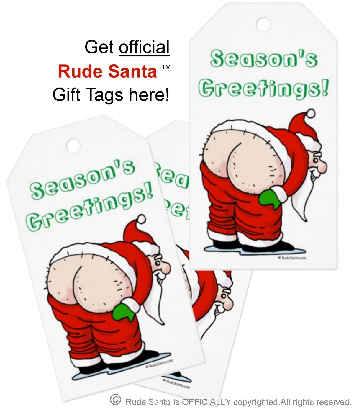 rude santa gift tag